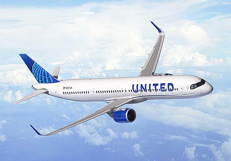 Airbus A321XLR im United Airlines Kleid