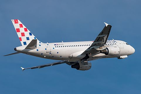 Takeoff eines Croatia Airlines Airbus A319