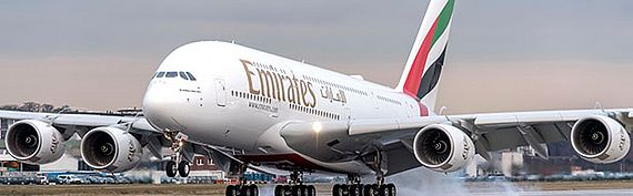 Emirates Airbus A380 touch down