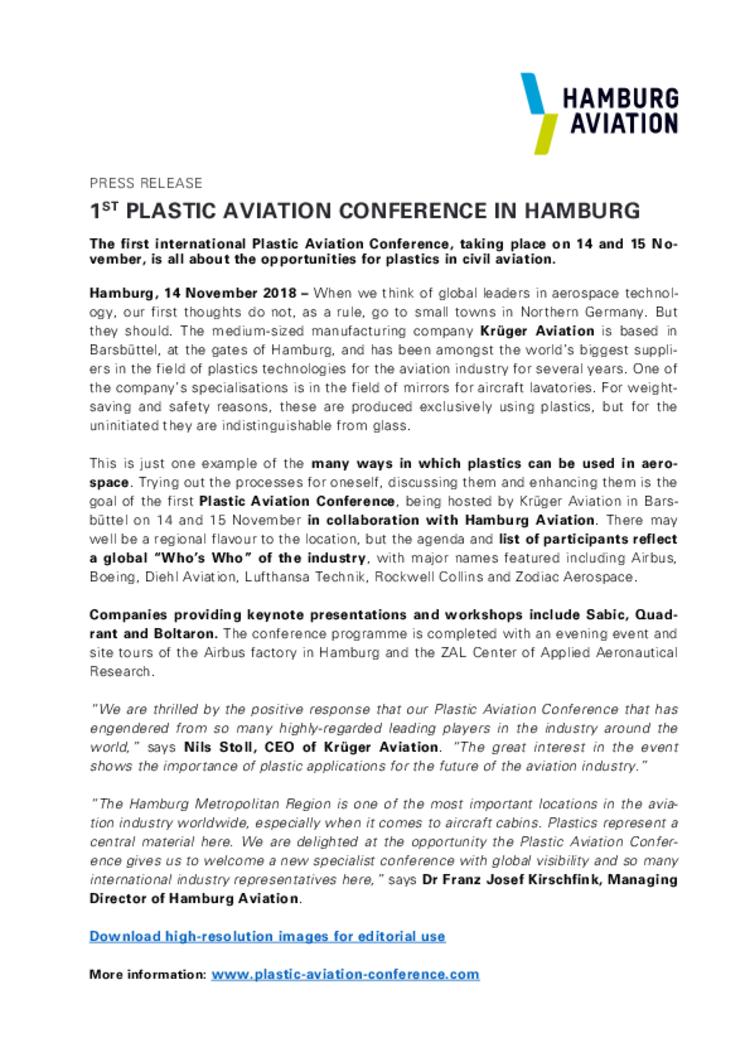 1st Plastic Aviation Conference in Hamburg - HAMBURG