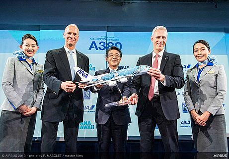 Present at the Airbus A380 delivery ceremony to All Nippon Airways